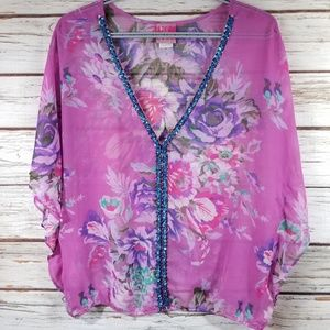 Free People Floral See through Top, size M
